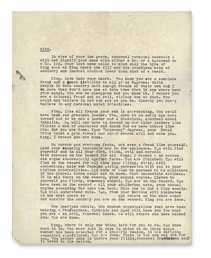 "the famous ""suicide letter"" from the FBI to Dr. Martin Luther King, Jr."